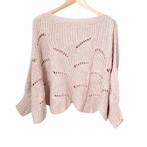 Blush Pink Dolman Batwing Scalloped Hem Knit Shrug